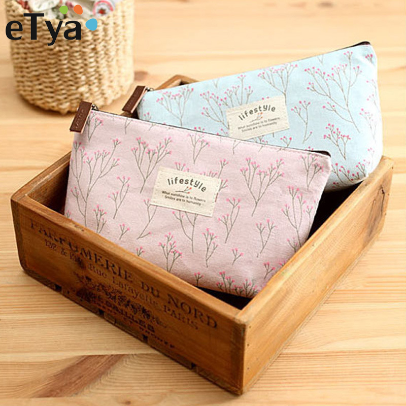 eTya Portable Flowers Travel Cosmetic Bag Pencil Makeup Case Pouch Women Toiletry Wash Organizer Bag Female Samll Coin Bags etya makeup bags canvas women cosmetic bag organizer pouch bag for travel necessary beauty case fashion portable document bags