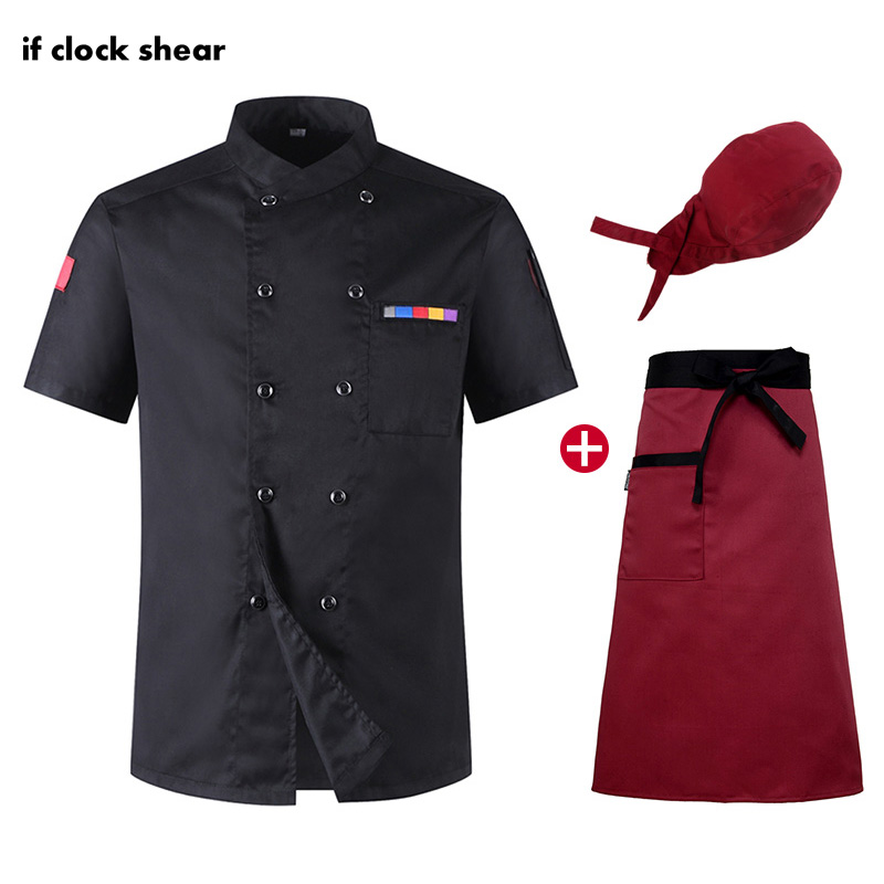 IF Food Service Restaurant Kitchen Uniform Unisex Double Breasted Short Sleeve Chef Jackets Cooker Work Clothes Wholesale Summer