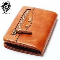 Retro Cow Genuine Leather Women Fashion Solid Hasp Wallets 100 Oil Wax Leather Women Wallet Lady