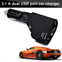 Car-Charger Cigarette Lighter Car Charger Adapter 2A or 1A 2-Port USB Smart Mobile Phone Charging For iPhone 6 iPad XiaoMi