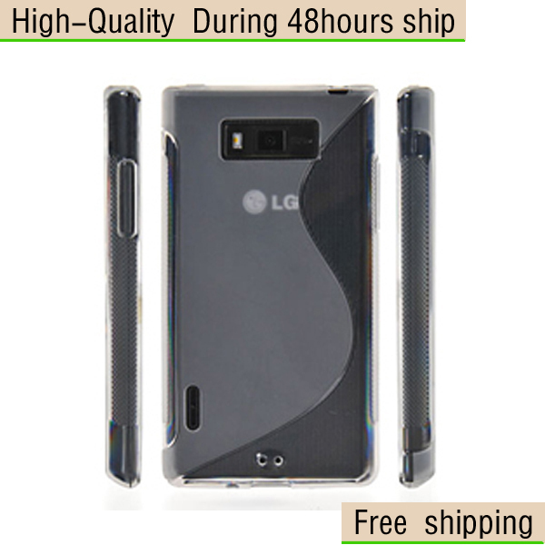New S line TPU Gel Hard Skin Case Stand Cover For LG P705 Optimus L7  Free Shipping UPS DHL EMS HKPAM CPAM