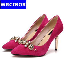2017 Women Pumps Nubuck Leather pointed toe High heels Lady fashion Rhinestone Sexy Thin heels Pumps, wedding shoes Size 33-41