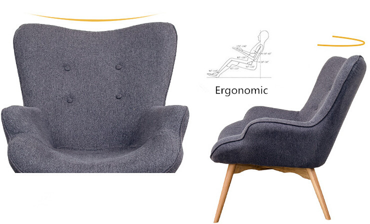 Mid Century Modern Contour Chair W/Footstool Living Room Furniture Muted  Fabric Armchair Chaise Lounge Fabric Accent Chair In Living Room Chairs  From ...
