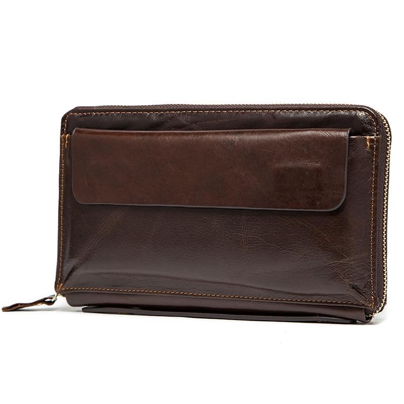 Nya mode Äkta läder plånbok män Casual Koppling Stor kapacitet - Plånböcker