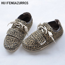 HUIFENGAZURRCS-Pure handmade shoes,the retro art mori girl Flats shoes, tied with Leopard Print students warm shoes,3