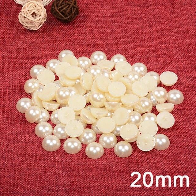 30 шт/лот 20 мм большие Бежевые Белые Бусины половинной круглой