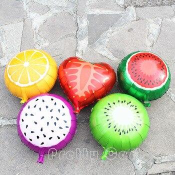 Nuevo 30 unids/set 18 pulgadas globos de frutas limón fresa sandía Pitaya Kiwi hoja globo de helio para niños suministros de cumpleaños