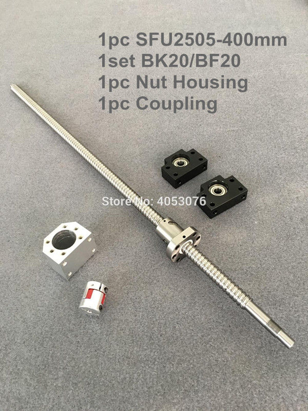 SFU / RM 2505-400mm Ballscrew with end machined+ 2505 Ball nut + BK/BF20 End support +Nut Housing+Coupling for CNC parts