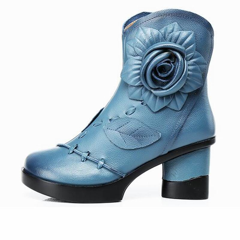 Gktinoo 여성 정품 가죽 부츠 2019 패션 수제 레트로 부츠 하이힐 발목 부츠 여성 소 가죽 꽃 신발-에서앵클 부츠부터 신발 의  그룹 2