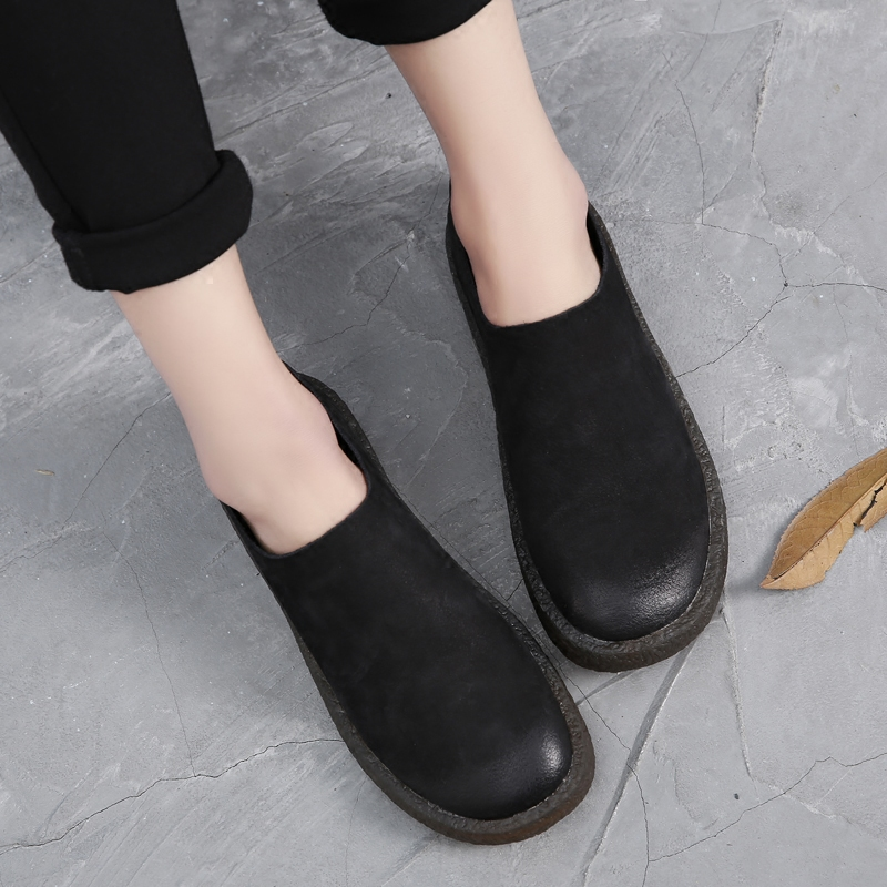Tyawkiho Autumn Women Black Loafers Slip On Soft Bottom Flats Women Retro Style Handmade Women Genuine Leather Flats Casual Shoe gktinoo bow tassel loafers shoe for women handmade genuine leather soft flats autumn driving shoe round toe women flats