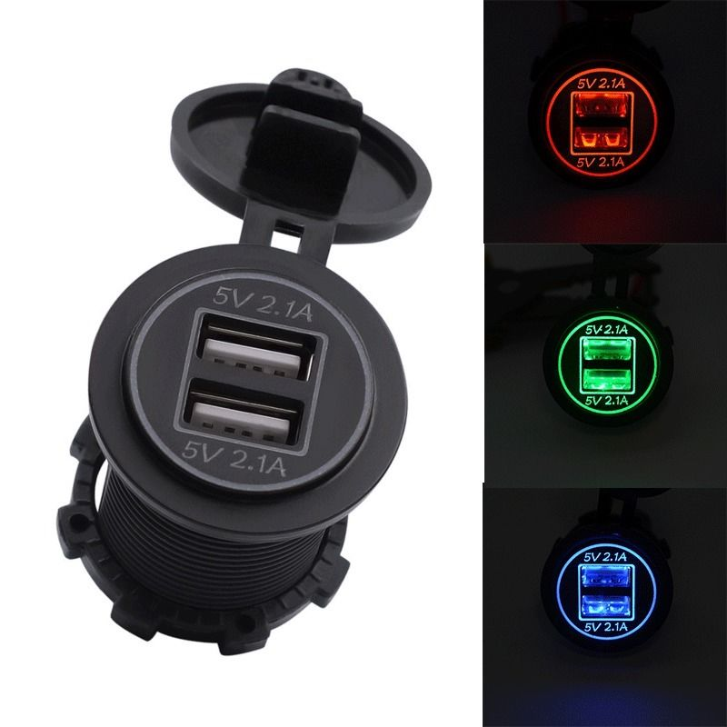 12-24V USB Charger for Motorcycle Auto Truck ATV LED Car 4.2A Dual USB Socket Charger Power Adapter Outlet Power