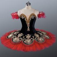 Adult Black Professional Ballet Tutu Gold Embroidery Girls Dance Wear Competition Stage Ballet Dancewear Ballerina Dress Kids