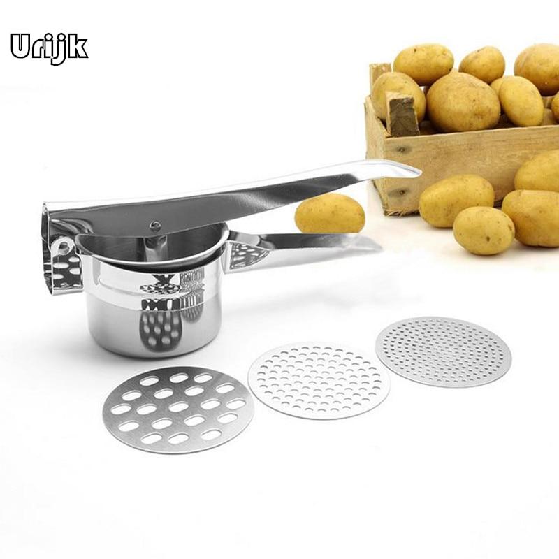 Urijk Potato Mashers Ricers Kitchen Cooking Tools Stainless Steel Pressure Mud Puree Vegetable Press Maker Garlic Presser