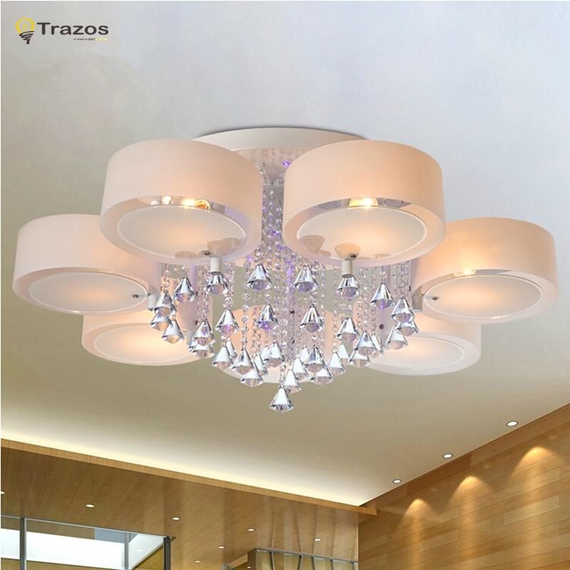 Kristall Led-deckenleuchten moderne modische design esszimmer lampe pendente de teto de cristal weiß schatten acryl glanz