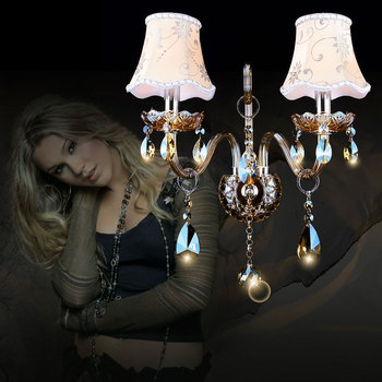 Modern crystal wall lamp Living room Bedroom Kitchen luminaria de parede bed side wall lamp with flower Lamp Shades wall sconce