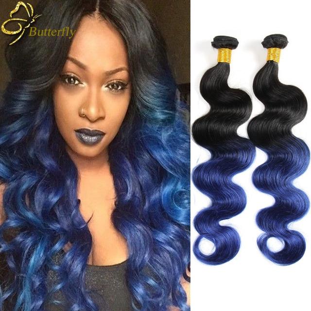 Ombre Brazilian Hair Blue Ombre Weave 3 Bundles Brazilian