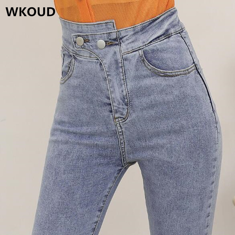 WKOUD High Waist Irregularity   Jeans   Women Spring Fashion Solid Blue   Jeans   Scratched Denim Pencil Pants Casual Skinny   Jean   P8843
