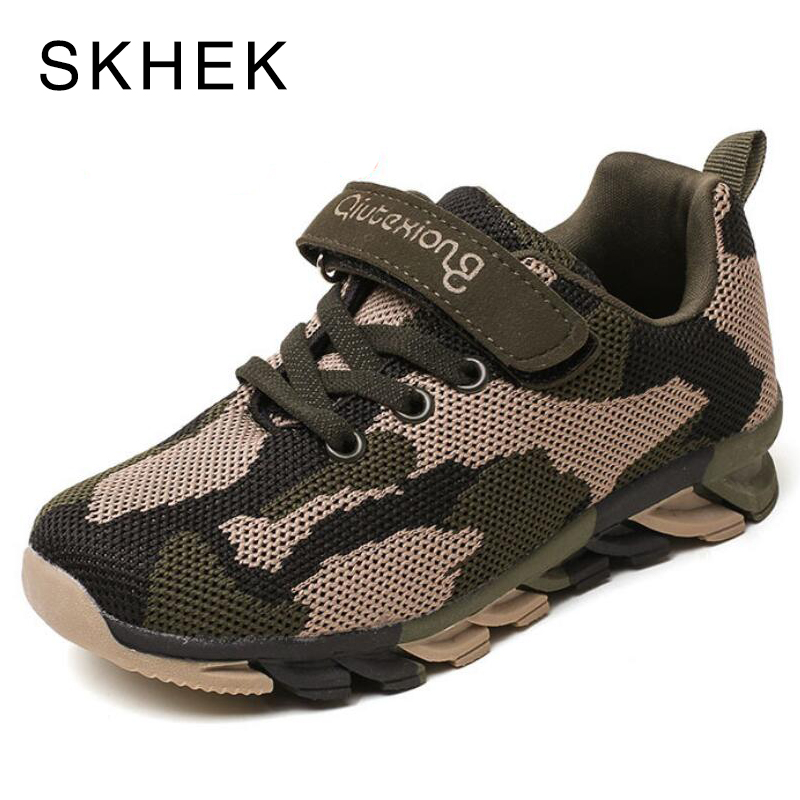 SKHEK Girls Sport Shoes For Kids Sneakers Children Shoes Mesh Sport Running Trainer Student School Boys Shoes Pink Army Green