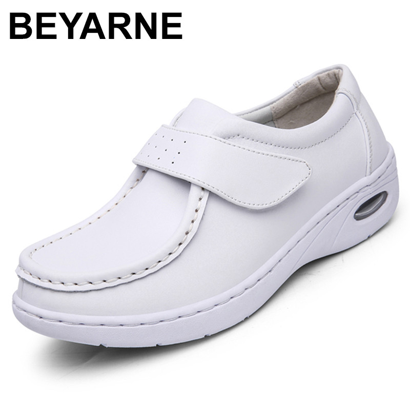 BEYARNE New Four Seasons Woman Pure white Nurse shoes women Platform soft Hook&Loop Air cushion casual genuine leather shoe new european top grade embroidery cushion sell like hot cakes four seasons pleuche gm direct manufacturers in the cushion