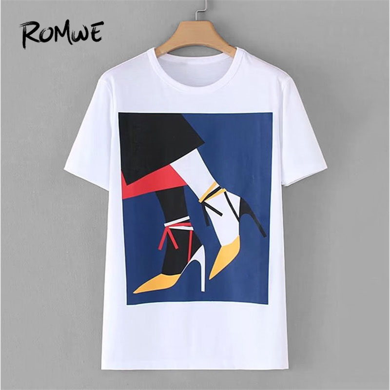 ROMWE 2018 Graphic Print Tee Shirt New Arrival Animal Short Sleeve Round Neck T-Shirt Summer White Cotton Women Clothes