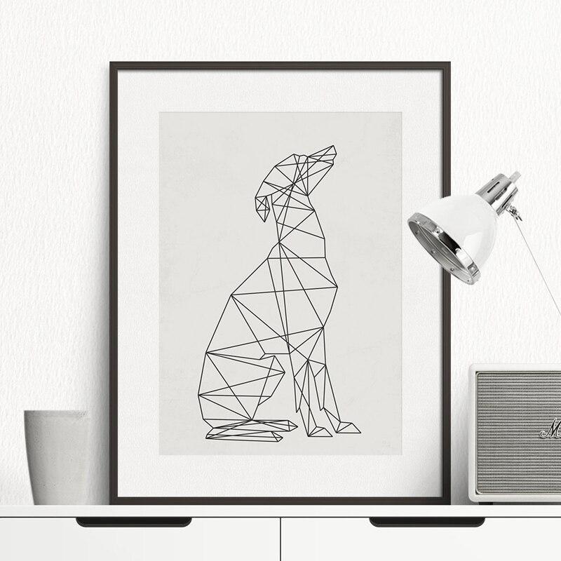 Dog minimal wall art canvas painting minimalist animal for Quadri minimal
