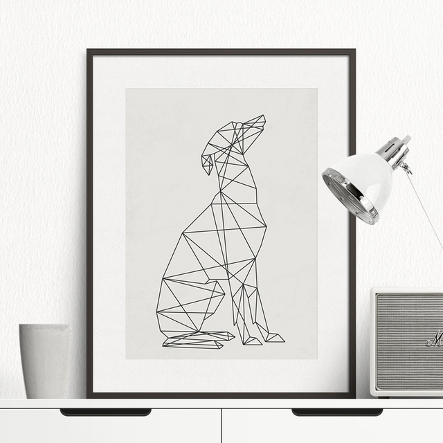 Dog minimal wall art canvas painting minimalist animal for Minimal art wall