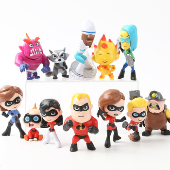 12pcs/lot The Incredibles 2 Disney anime figures Model Action Figures Miniatures Figurines Collectible Dolls for Children 5-8CM sonny angel baby animal pvc action figures marine ocean life candy series kewpie model figurines collectible dolls kids toys