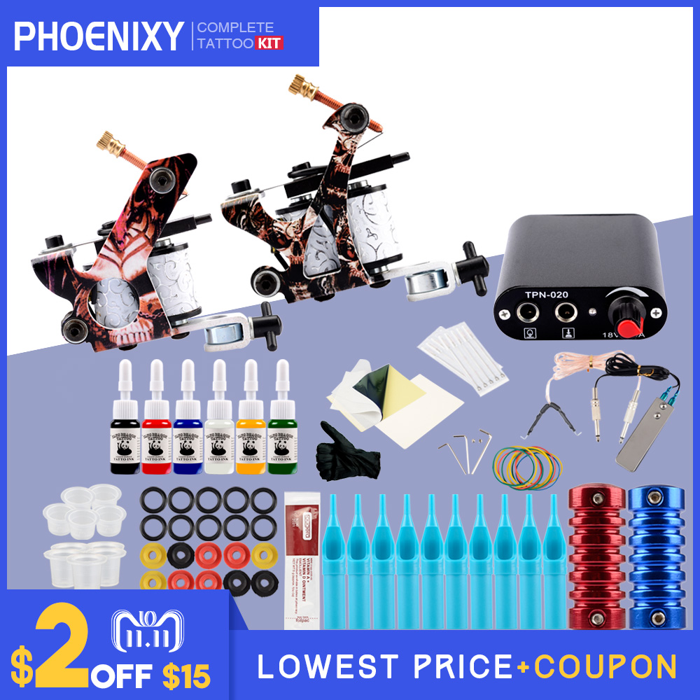 Beginner Tattoo Kits 2 Tattoo Guns Machine 10 Ink Sets Power Supply Needle Pedal Tips Cheap Tattoo kit цены