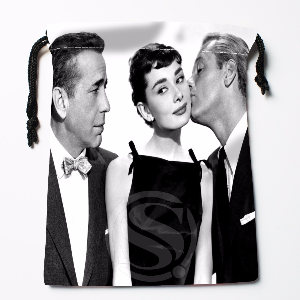 Fl-Q4 New Audrey Hepburn Custom Logo Printed  Receive Bag  Bag Compression Type Drawstring Bags Size 18X22cm 711-#f4