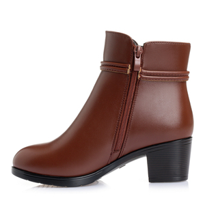 Image 5 - GKTINOO 2020 NEW Fashion Soft Leather Women Ankle Boots High Heels Zipper Shoes Warm Fur Winter Boots for Women Plus Size 35 43