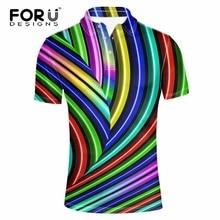 FORUDESIGNS High Quality Brand Men Polo 3D Colorful Fashion Polo Homme Shirt New Summer European Men's Camisa Plus Size XS-XXL men colorful graffiti polo shirt