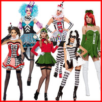 Teens Joker Clown Circus Horror Costume Halloween Ghosts Cosplay Fancy Dress Adult Women