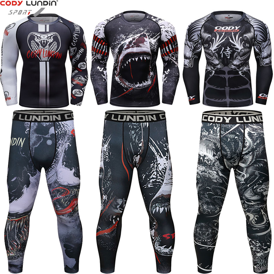 New Men'S Mma Rashguard T-Shirt Long Sleeve Boxing Sets 3D Prints Tight Skin Compression Fitness Suits Bjj Gi Muay Thai Jerseys