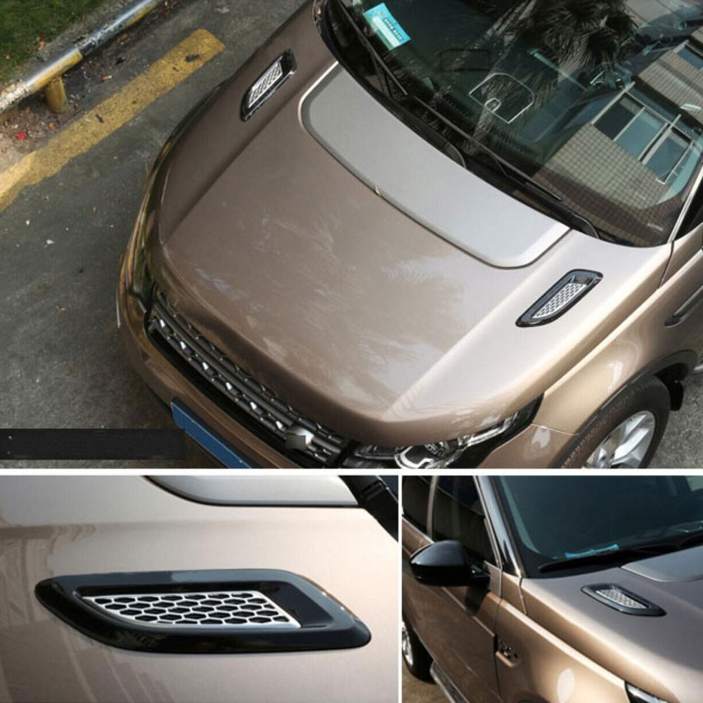 Universal Exterior Hood Air Vent Outlet Wing Trim Engine Bonnet Body Styling Parts Accessories Compatible with Land Rover Range Rover Evoque 2012-2018 Discovery 4 2010-2016 Freelande Air Outlet Wing