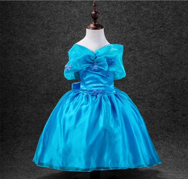 2018 New Cinderella Dress For Blue Girls Party Dresses With Butterfly Children Costume Cosplay Clothes