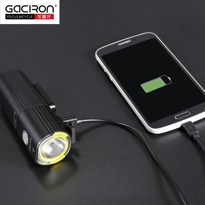 GACIRON передний руль велосипеда светильник IPX6 Водонепроницаемый светодиодный светильник USB Перезаряжаемый внешний аккумулятор флэш светильник 1000 люмен 4500 мАч 6 режимов - 3