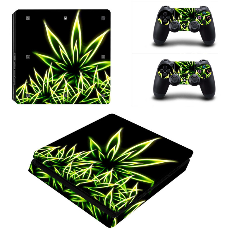 Green Plant Series Sticker For PS4 Console +2 Controllers Vinyl Game Protective Skin Sticker For Playstation 4 Slim
