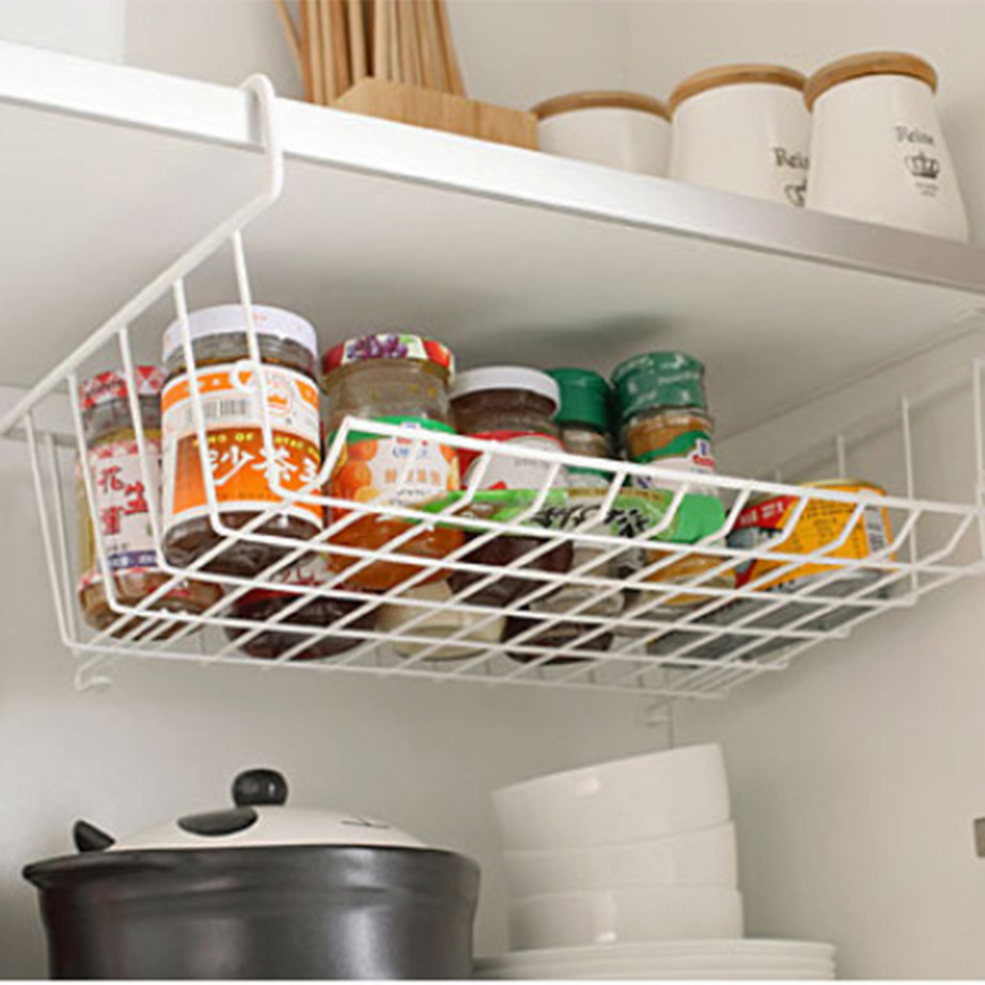 Multifunction closet shelf storage rack layered storage rack hanging basket shelf rack dormitory kitchen cabinets storage rack