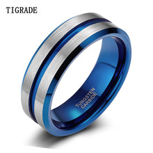 TIGRADE 8MM Blue Tungsten Ring For Men Male Wedding Bands Vintage Brand Jewelry Anime Anel Masculino Aneis Feminino Ringen