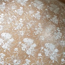 1 Yard Large Floral Embroidery Lace Fabric with Clear Sequin, Soft Tulle Mesh Couture