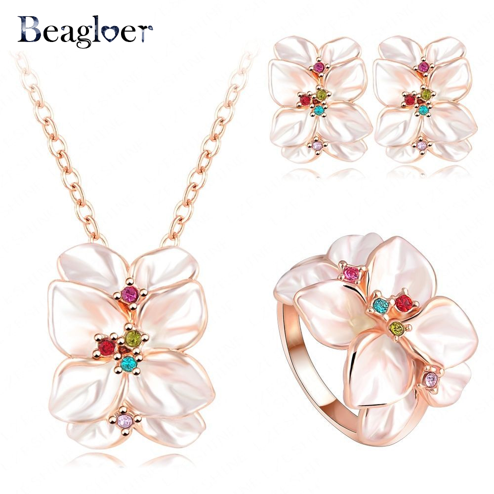Beagloer Hot Sale Jewelry Set Rose Gold Color Austrian Crystal Enamel Earring/Necklace/Ring Flower Set Choose Size Ring ST0002 chain