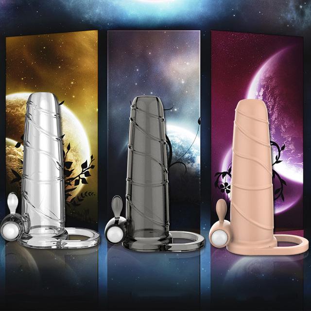 Varón que vibra el prepucio anillos del pene anillo del martillo del vibrador del pene retrasan duradera manga extender mangas cock jaula juguetes sexuales para hombres
