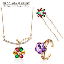 Neoglory Rose Gold Color Austrian Rhinestone Fashion Jewelry Sets for Women Wedding Jewellery 2017 New JS3 Flo-c Colf Colf-s(China)
