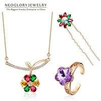 Neoglory Colorful Rose Gold Plated Austria Rhinestone Fashion Jewelry Sets For Women Wedding Jewellery 2015 New