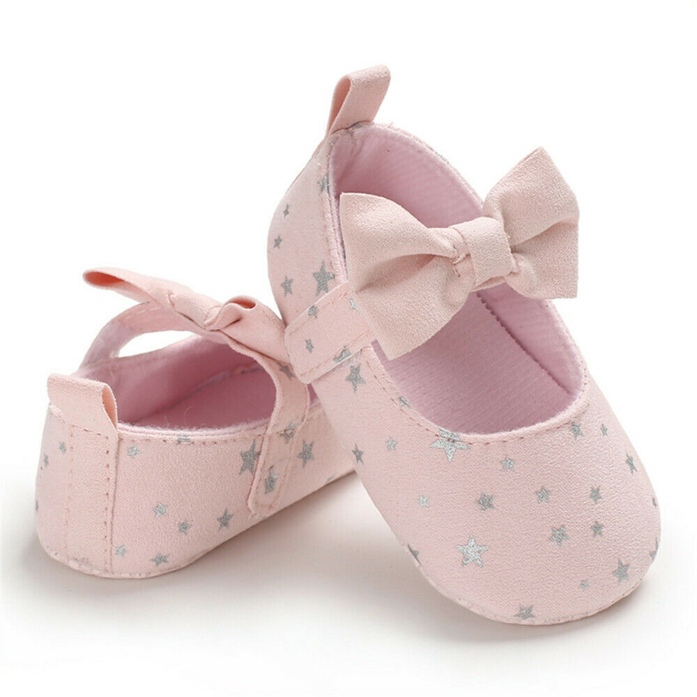 2019 Hot Newborn Baby Girl Shoes Cute Bow Star Print Canvas Sneakers Soft Sole Toddler Shoes