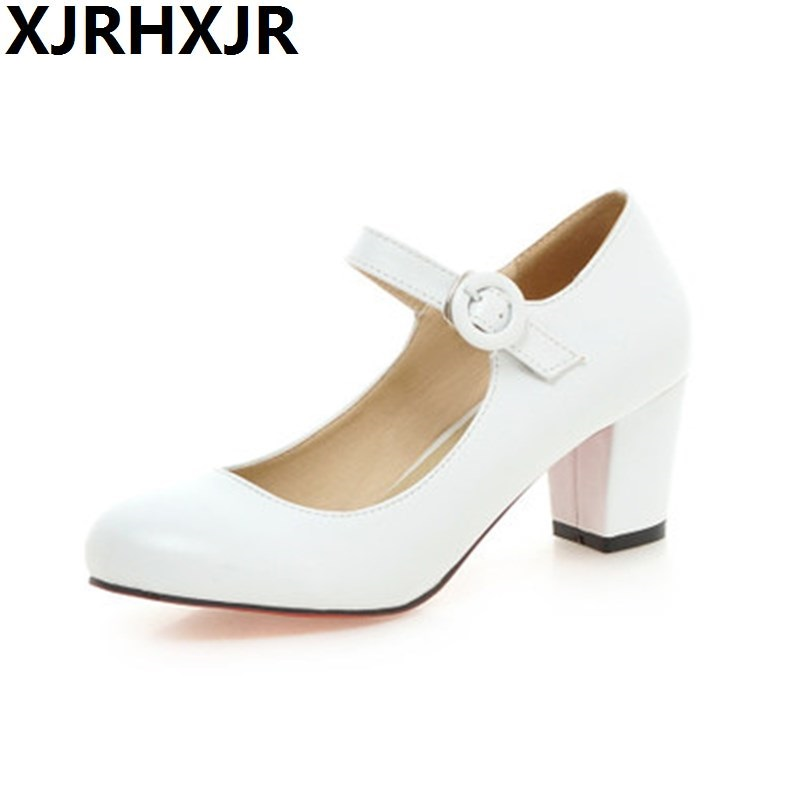 Shoes Woman Pumps Spring Summer Round Toe High Heels Mary Jane Ladies Shoes Thick Heels Black Apricot Pink Big Size gold lace pumps women mary jane shoes crystal pearl studded sandals red black pink ladies strange high heels wedding shoes