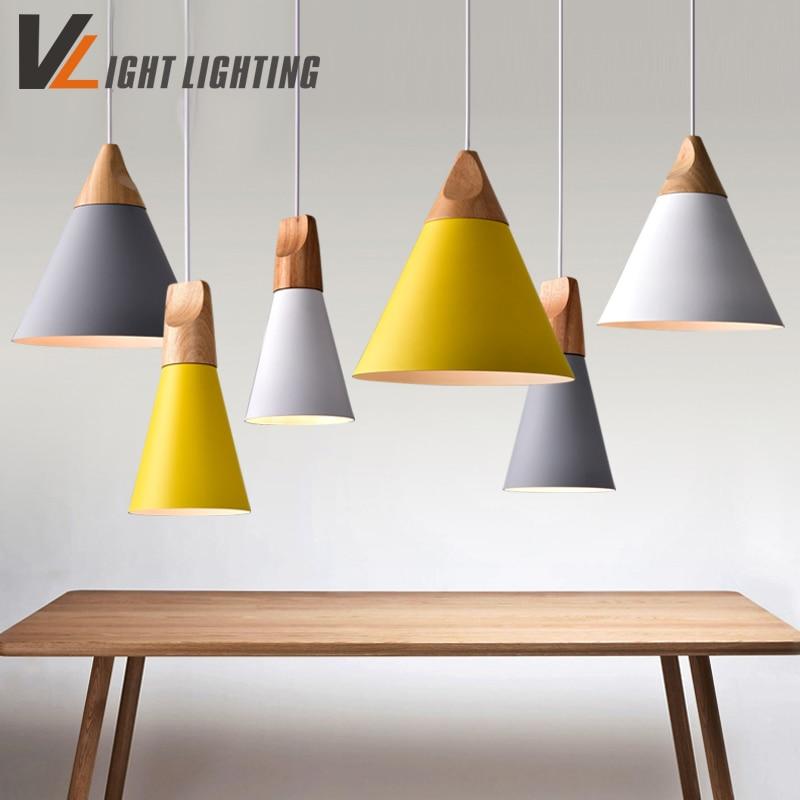 Modern pendant lights real wooden aluminum colorful for Luminaire en bois suspension
