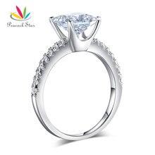 Павлин Star 1.5 ct Принцесса Cut Micropave стерлингового серебра 925 Обручальное кольцо Обручение обещание Юбилей cfr8247