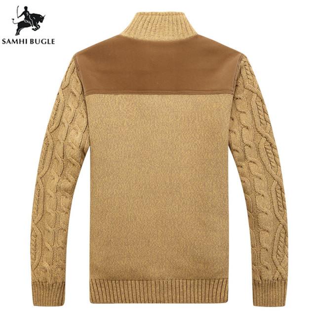 SAMHIBUGLE Sweater Men Winter Warm Thick Velvet Sweatercoat Single-breasted Casual Cardigan Men's Sweater Pattern Knitwear 3XL