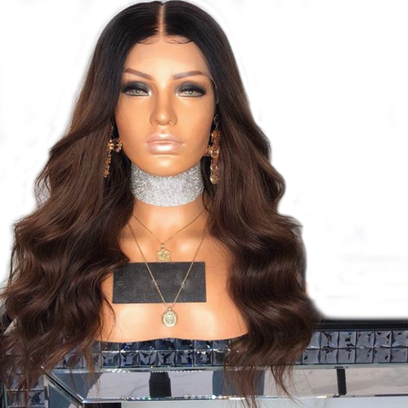 DLME 180 Density brown lace front wig ombre body wave synthetic hair wigs glueless with  ...